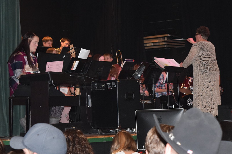 """Fleming School's combined bands perform """"The Name's Claus....Santa Claus,""""under the direction of Jeri Anderson, at the school's 5-12th grade Christmas concert Tuesday, Dec. 13, 2016."""