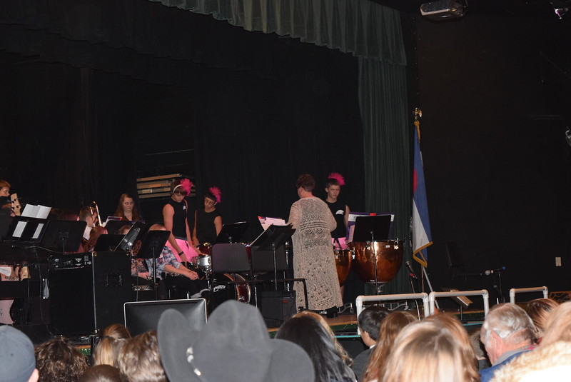 "The high school percussion ensemble, dressed in their best tutus, perform ""Dance of the Swans,"" under the direction of Jeri Anderson, at Fleming School's 5-12th grade Christmas concert Tuesday, Dec. 13, 2016."