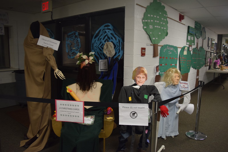 "Characters from ""A Christmas Carol,"" created by the 10th grade class, greeted guests who attended Fleming School's 5-12th grade band and choir Christmas concert Tuesday, Dec. 13, 2016."