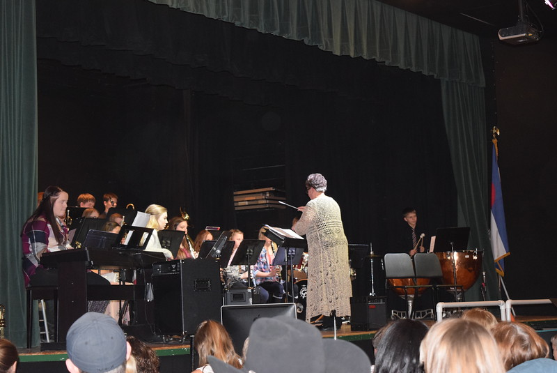 """The 6-12th grade bands perform """"Christmas Star,"""" under the direction of Jeri Anderson, at Fleming School's 5-12th grade Christmas concert Tuesday, Dec. 13, 2016."""