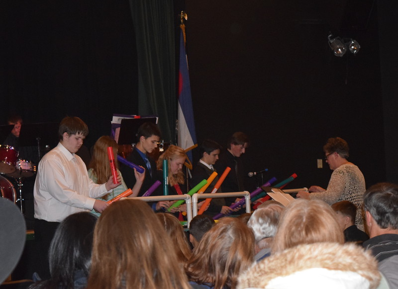 "A Crazy Percussion ensemble performs ""Carol of the Boomwhackers,"" under the direction of Jeri Anderson, at Fleming School's 5-12th grade Christmas concert Tuesday, Dec. 13, 2016."