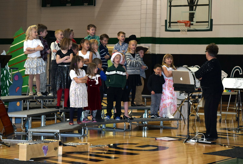 "Kindergarten and first grade students sing ""Hip Hop Reindeer,"" under the direction of Jeri Anderson, at Fleming Elementary's annual holiday concert Thursday, Dec. 15, 2016."