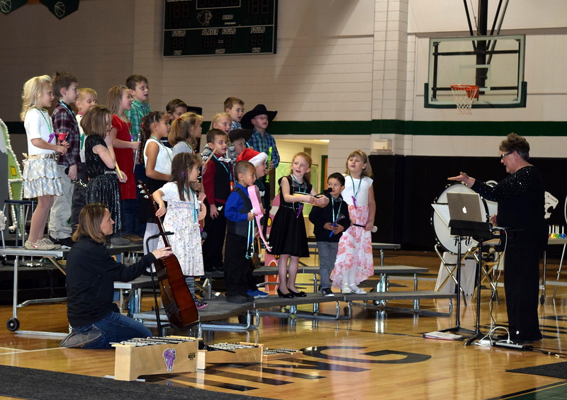"Fleming kindergarten and first grade students played all sorts of instruments as they sang ""Ring A Little Bell,"" under the direction of Jeri Anderson, at the school's holiday concert Thursday, Dec. 15, 2016."