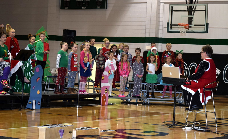 "Fleming School second through fourth graders sing ""Welcome Christmas"" at the school's Reader's Theatre presentation of ""How the Grinch Stole Christmas"" Thursday, Dec. 15, 2016."