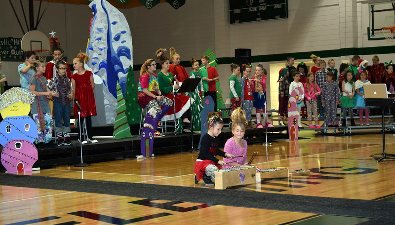 "Second through fourth grade students perform ""This Magic Season"" during Fleming Elementary's Reader's Theatre presentation of ""How the Grinch Stole Christmas"" Thursday, Dec. 15, 2016."