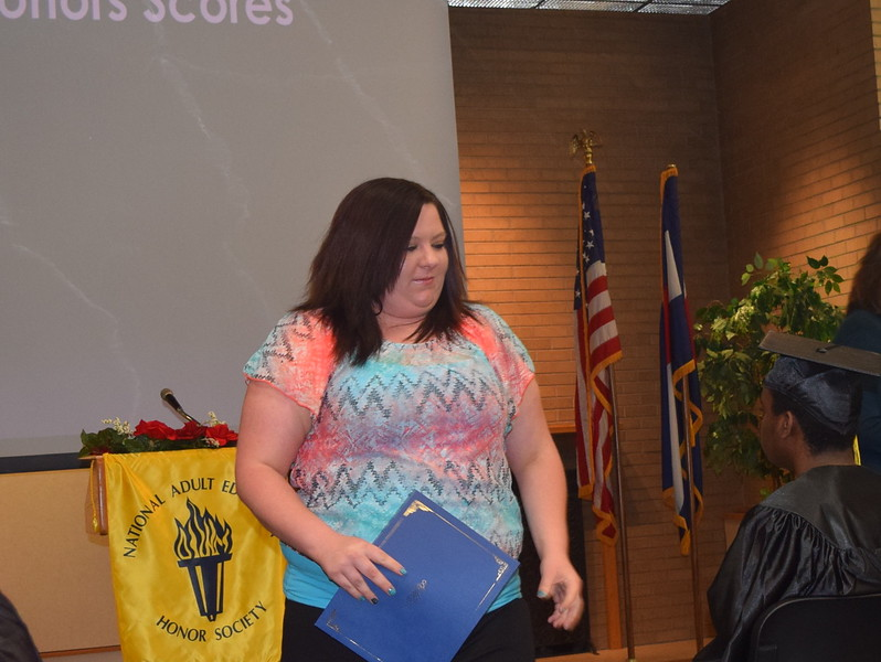 Danielle Phillips receives her Jump Start to Nursing Certificate at GED Graduation Celebration Saturday, May 14, 2016. Desiree Lewis was also recognized.