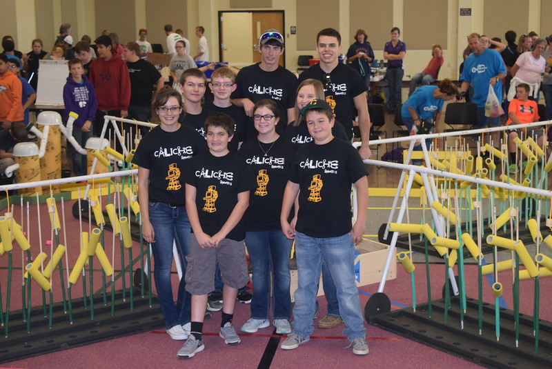 "The Caliche Junior and Senior High School team poses for a photo Saturday, Oct. 29, 2016, at the Golden Plains BEST Robotics Challenge: ""Bet the Farm."""