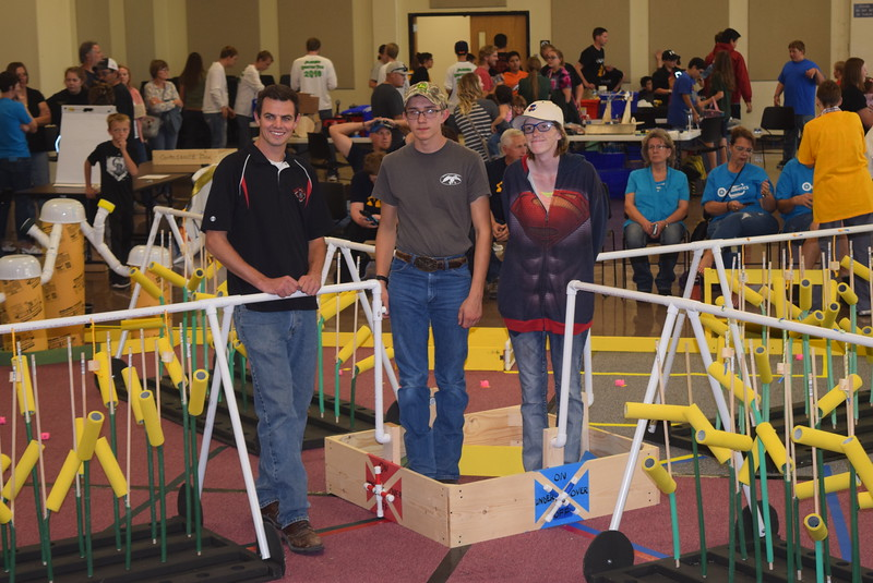 "The Haxtun  High School team and their coach Joe Boerner pose for a photo Saturday, Oct. 29, 2016, at the Golden Plains BEST Robotics Challenge: ""Bet the Farm."""