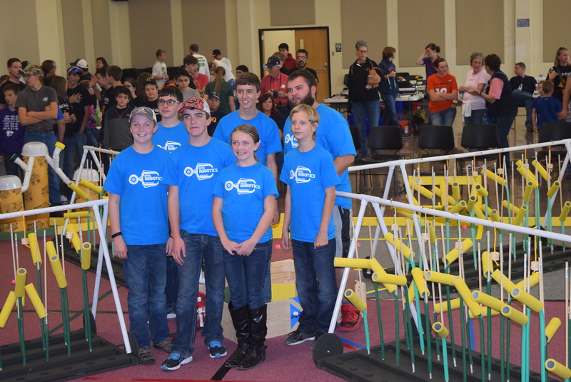 "The Otis School team poses for a photo Saturday, Oct. 29, 2016, at the Golden Plains BEST Robotics Challenge: ""Bet the Farm."""