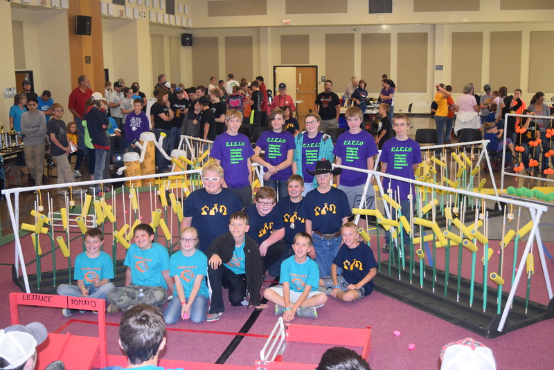 "The Peetz Robodogs, Cybermen and E.I.E.I.O teams pose for a photo Saturday, Oct. 29, 2016, at the Golden Plains BEST Robotics Challenge: ""Bet the Farm."""