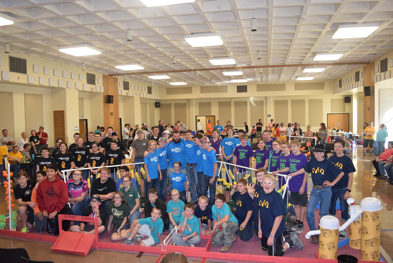 "Participants in the Golden Plains BEST Robotics Challenge: ""Bet the Farm"" pose for a photo Saturday, Oct. 29, 2016."