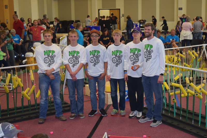 "The Julesburg Junior and Senior High School team and their coach Tye Campbell pose for a photo Saturday, Oct. 29, 2016, at the Golden Plains BEST Robotics Challenge: ""Bet the Farm."""