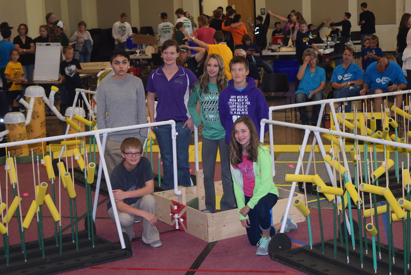 "The Revere Junior and Senior High School team and their coach Meghan Kienbusch pose for a photo Saturday, Oct. 29, 2016, at the Golden Plains BEST Robotics Challenge: ""Bet the Farm."""