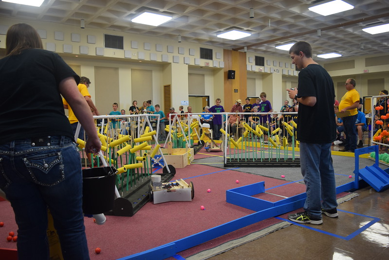 Caliche Jr./Sr. High School team members guide their robot to plant corn seeds during the Golden Plains BEST Robotics Challenge Saturday, Oct. 29, 2016.