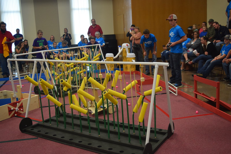 Otis School team members work to harvest corn with their robot during the Golden Plains BEST Robotics Challenge Saturday, Oct. 29, 2016.