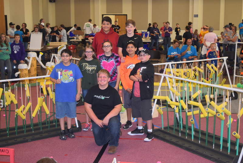 "The Holyoke Junior and Senior High School team poses for a photo Saturday, Oct. 29, 2016, at the Golden Plains BEST Robotics Challenge: ""Bet the Farm."""