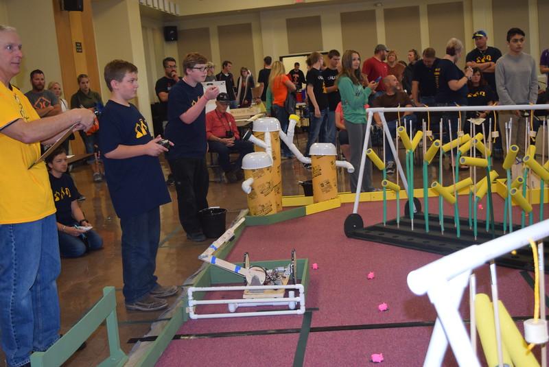 Peetz Cybermen team members prepare for a match during the Golden Plains BEST Robotics Challenge Saturday, Oct. 29, 2016.