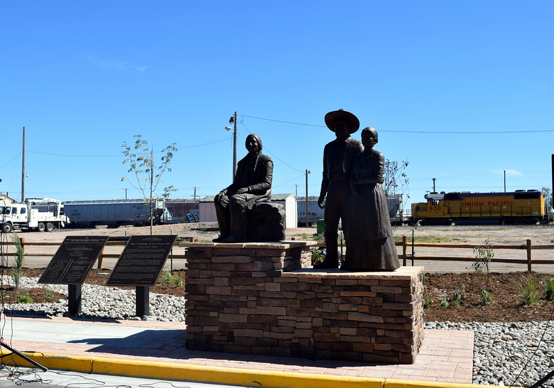 "Sterling's newest bronze sculpture depicts William ""Uncle Billy"" Hadfield, Logan County's first settler, and his wife, ""Aunt"" Charity Sanders Hadfield."