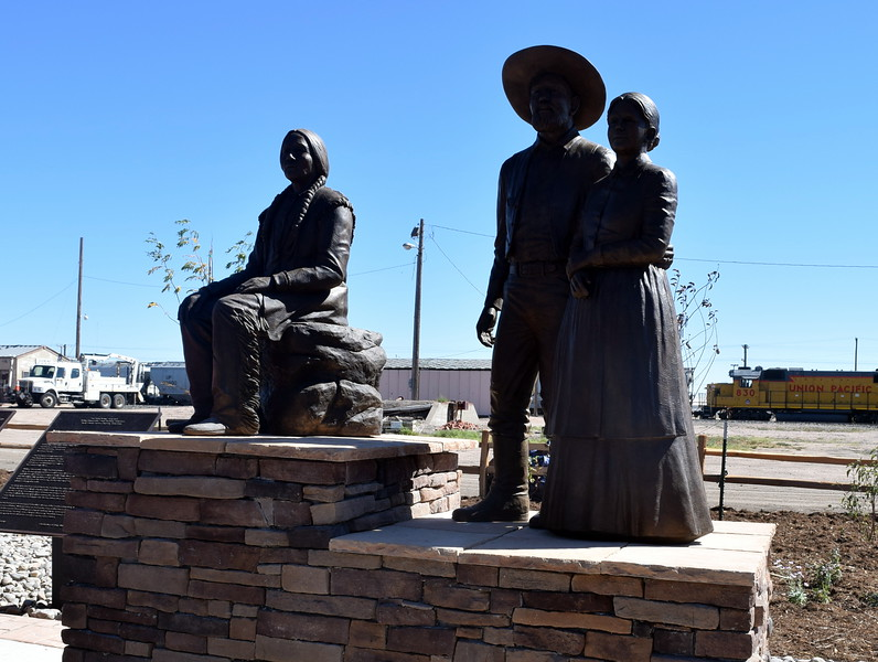 "Sterling's newest bronze sculpture depicts William Hadfield, Logan County's first settler, his wife, ""Aunt"" Charity Sanders Hadfield, and a contemporary of Hadfield's – a prairie Indian."