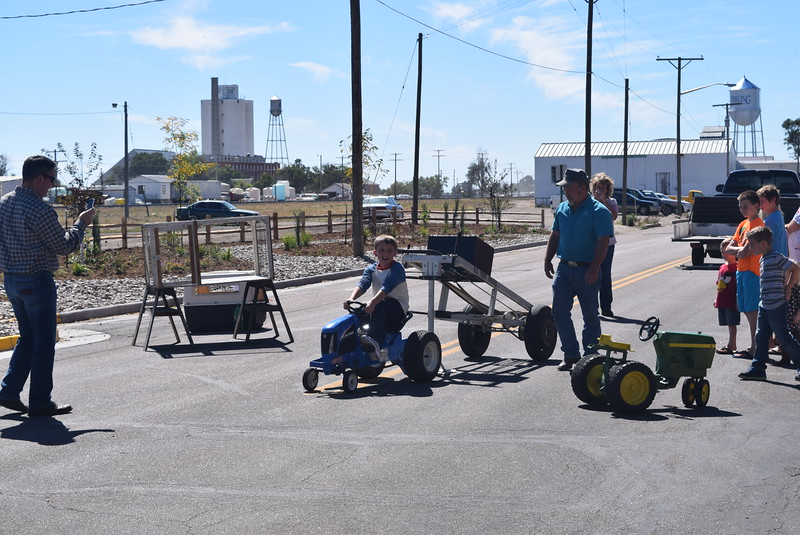 NJC Young Farmers offered a pedal tractor pull as part of the fun Saturday, Sept. 24, 2016, at the sculpture unveiling.