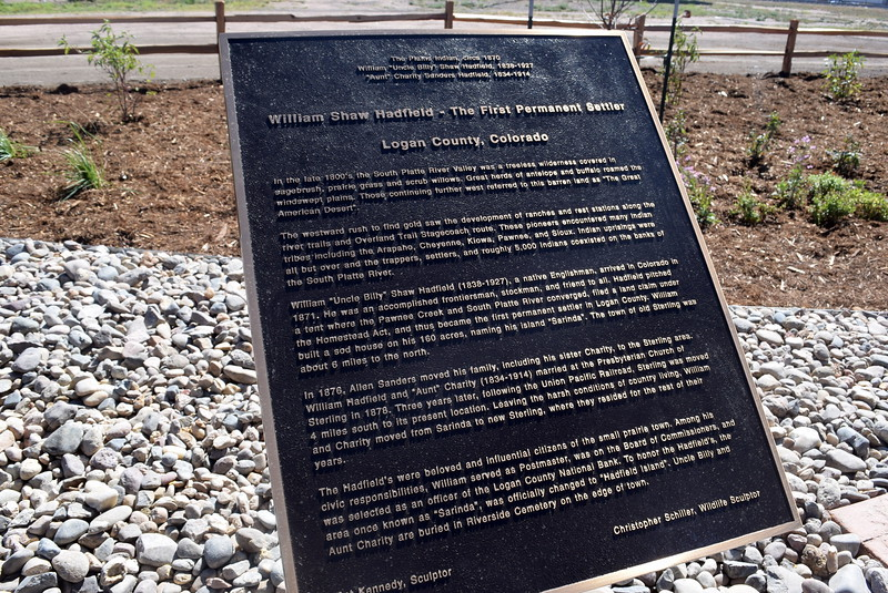 "Historical information about William ""Uncle Billy"" Hadfield and ""Aunt"" Charity Sanders Hadfield can be found on a plaque next to the new bronze sculpture."
