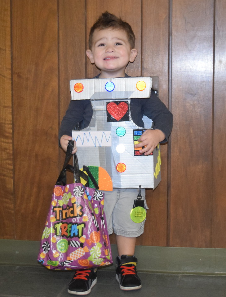 Roman Guerrero-Ramey, age 2, dressed as a robot, was all smiles when he visited the Journal-Advocate Monday, Oct. 31, 2016, for some Halloween candy.