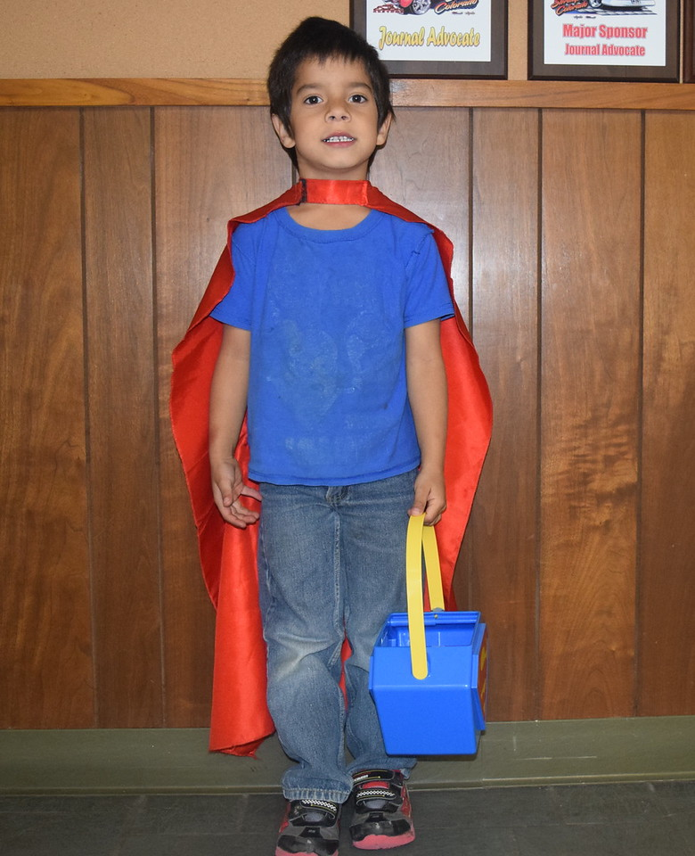 Jonah Cline, age 6, dressed as Superman, flew into the Journal-Advocate Monday, Oct. 31, 2016, for some Halloween treats.