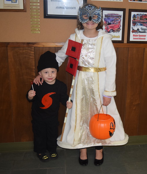 Hurricane Matthew (Rynek), age 2, blew into the Journal-Advocate with his sister, Shelby Rynek, age 10, dressed as a snow queen, in search of some Halloween candy Monday, Oct. 31, 2016.