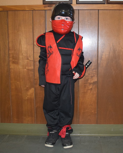 Landon Johnson-Lulf, age four, dressed as a ninja, was among the trick-or-treaters that stopped by the Journal-Advocate on Halloween, Monday, Oct. 31, 2016.