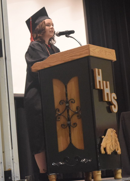 Co-valedictorian Victoria Davis speaks about new beginnings at Haxtun High School's commencement ceremony Sunday, May 14, 2017.