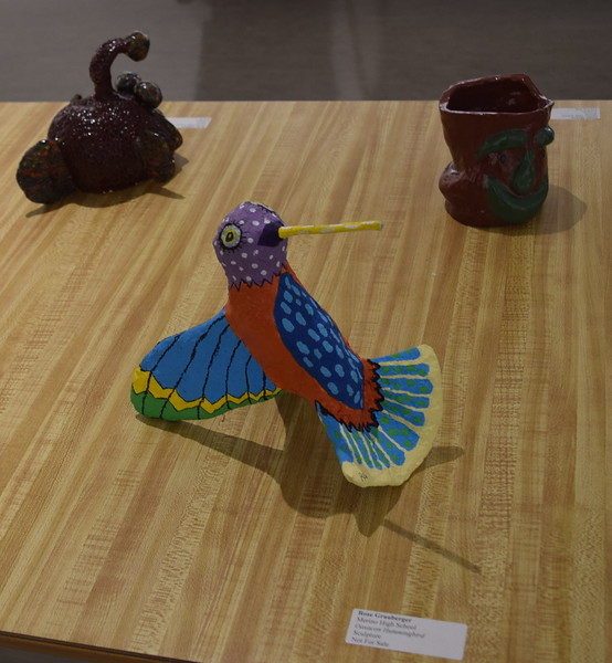 A bird sculpture created Merino High School student Rose Graugerger was among the artwork on display at NJC's annual High Plains Secondary School Art Exhibit.