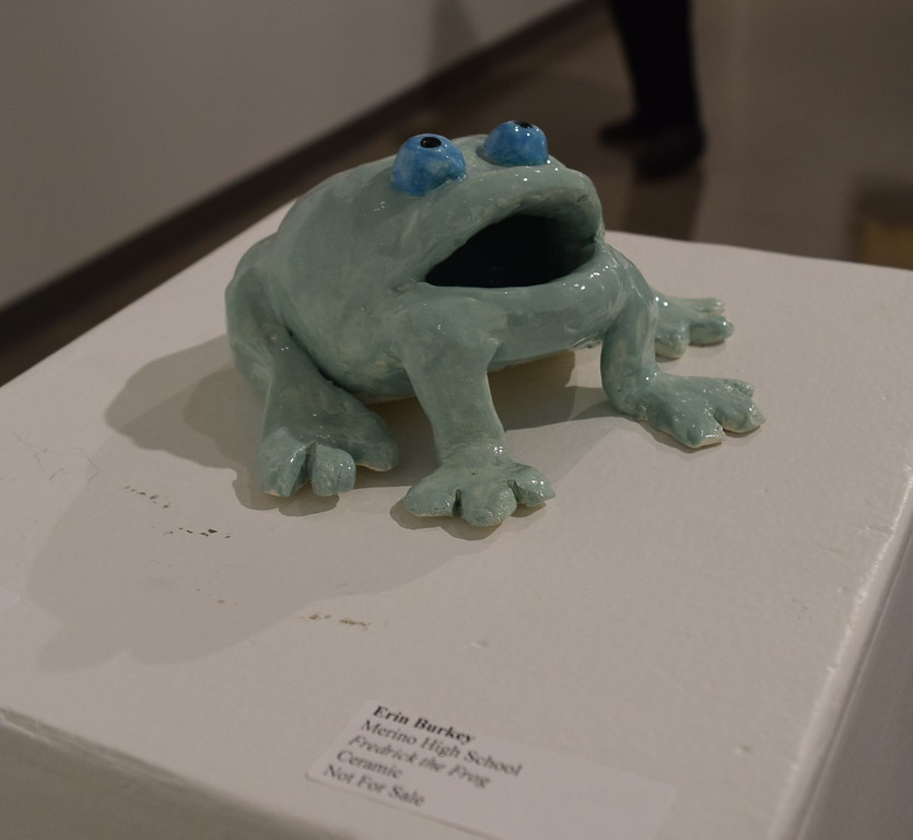 """A ceramic piece, """"Fredrick the Frog,"""" created by Erin Burkey of Merino High School was among the pieces on display at Northeastern Junior College's annual High Plains Secondary School Art Exhibit held in April."""