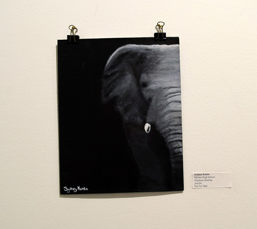 "An acrylic paiting, ""Elephant Shading,"" created by Sydney Kuntz of Merino High School was among the artwork on display at Northeastern Junior College's annual High Plains Secondary School Art Exhibit held in April."
