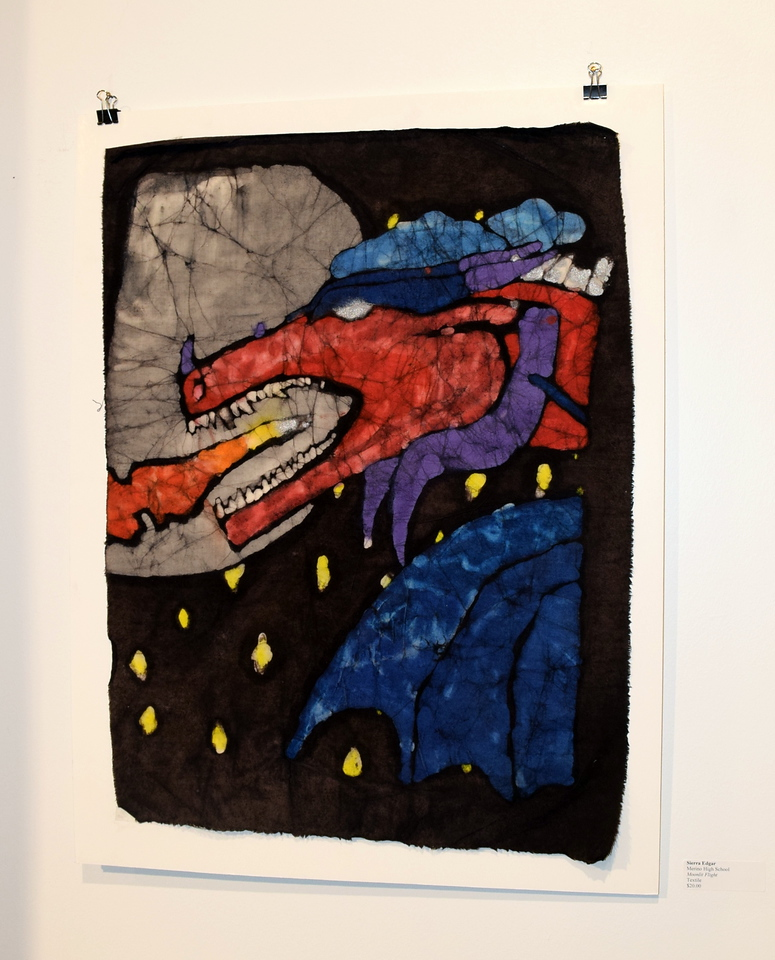 """A textile piece, """"Moonla Flight,"""" created by Sierra Edgar of Merino High School was among the artwork on display at Northeastern Junior College's annual High Plains Secondary School Art Exhibit held in April."""