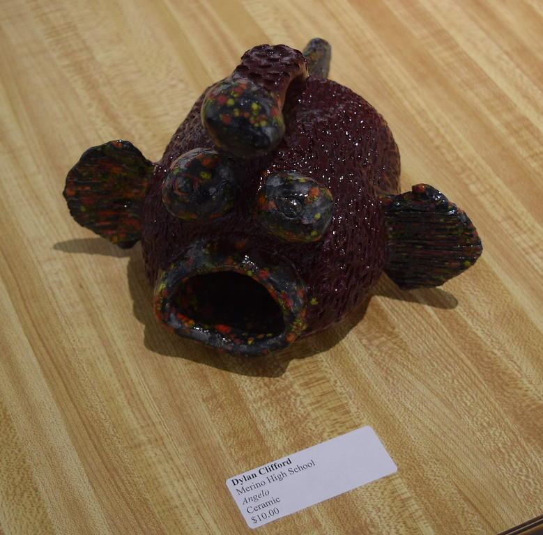 """A ceramic fish, titled """"Angelo,"""" created by Merino High School student Dylan Clifford was among the pieces on display at the High Plains Secondary Schools Art Exhibit at Northeastern Junior College in April."""