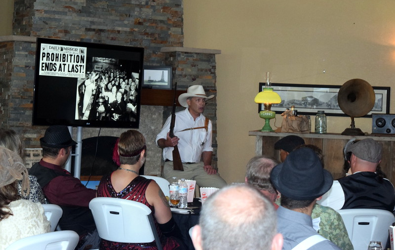 Sheriff Ray Powell (museum assistant Perry Johnson) shares stories about Prohibition in Logan County during Overland Trail Museum's History After Dark – Date Night at the Museum program on the 1920s Friday, June 23, 2017.