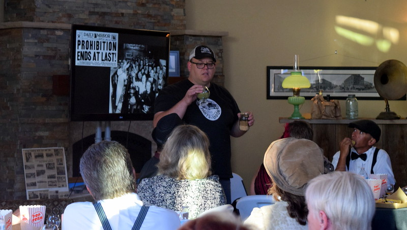 Dylan Harford, owner of Parts & Labor Brewery, talks about the process of making beer, at Overland Trail Museum's History After Dark – Date Night at the Museum Friday, June 23, 2017. Guests enjoyed three samplings of beer from the brewery.