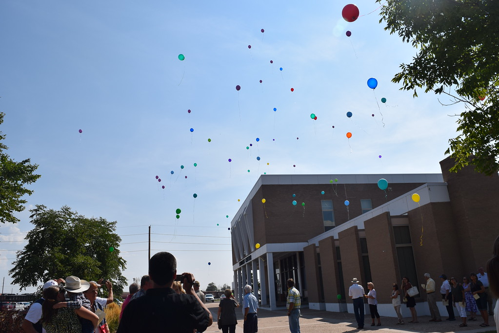 . The sky is filled with balloons in honor of Janna Korrey following a balloon release at the Janna Korrey Memorial Pavilion dedication ceremony Sunday, Sept. 10, 2017.