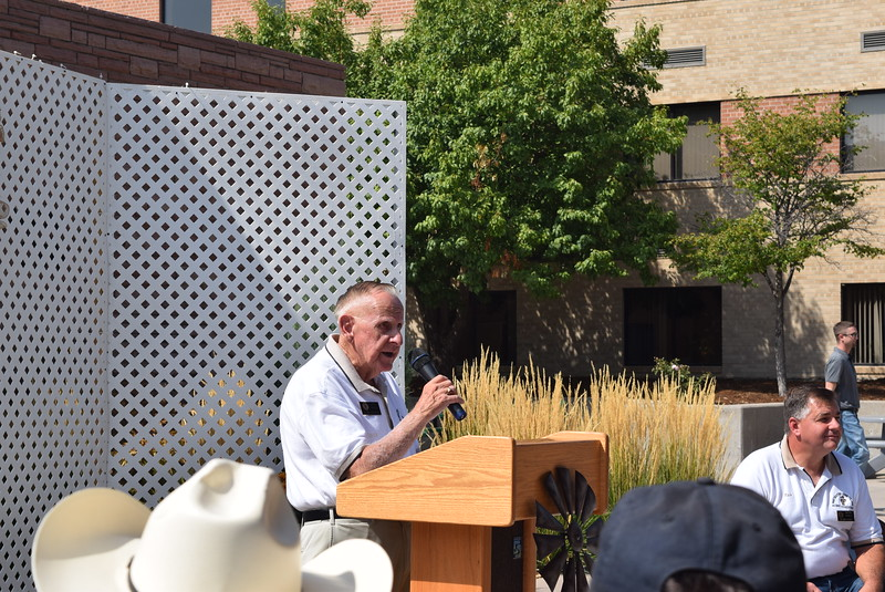 Jack Annan, Northeastern Junior College alumni executive director, talks about the need for a pavilion and the reality, during the Janna Korrey Memorial Pavilion dedication ceremony Sunday, Sept. 10, 2017.