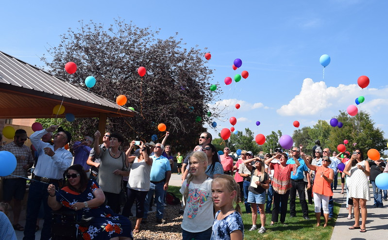 A balloon release was held in Janna Korrey's honor at the conclusion of the dedication ceremony for the Janna Korrey Memorial Pavilion on Sunday, Sept. 10, 2017.
