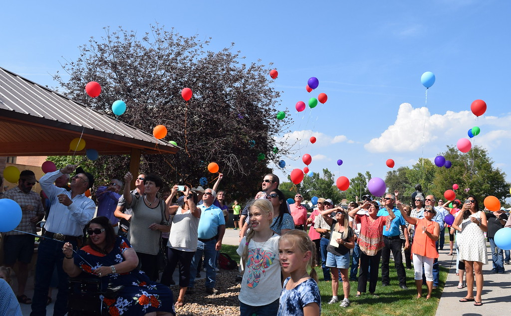 . A balloon release was held in Janna Korrey\'s honor at the conclusion of the dedication ceremony for the Janna Korrey Memorial Pavilion on Sunday, Sept. 10, 2017.