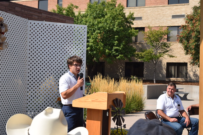 Tyler Szymkowicz, the 2017-18 Northeastern Junior College Associated Student Goverment Presidents, thanks donors on behalf of all NJC students for making the Janna Korrey Memorial Pavilion possible during a dedication ceremony Sunday, Sept. 10, 2017.