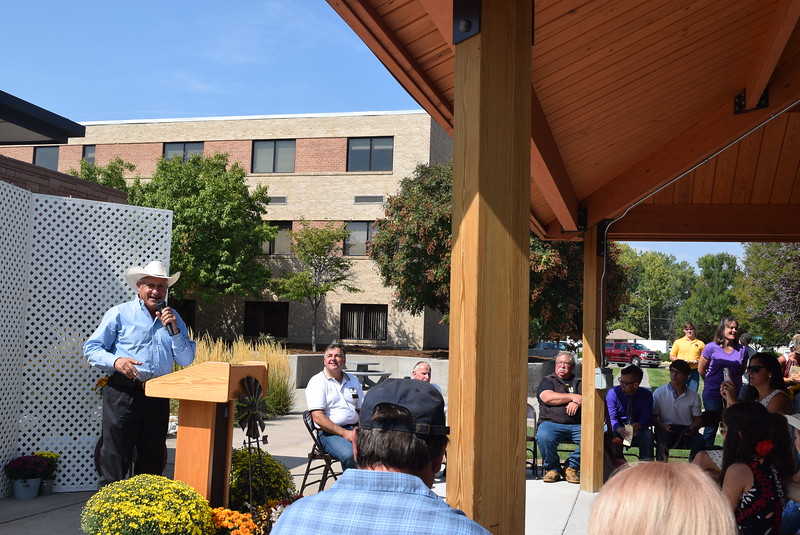 John Korrey, Janna's husband, gives remarks during the Janna Korrey Memorial Pavilion dedication ceremony Sunday, Sept. 10, 2017.