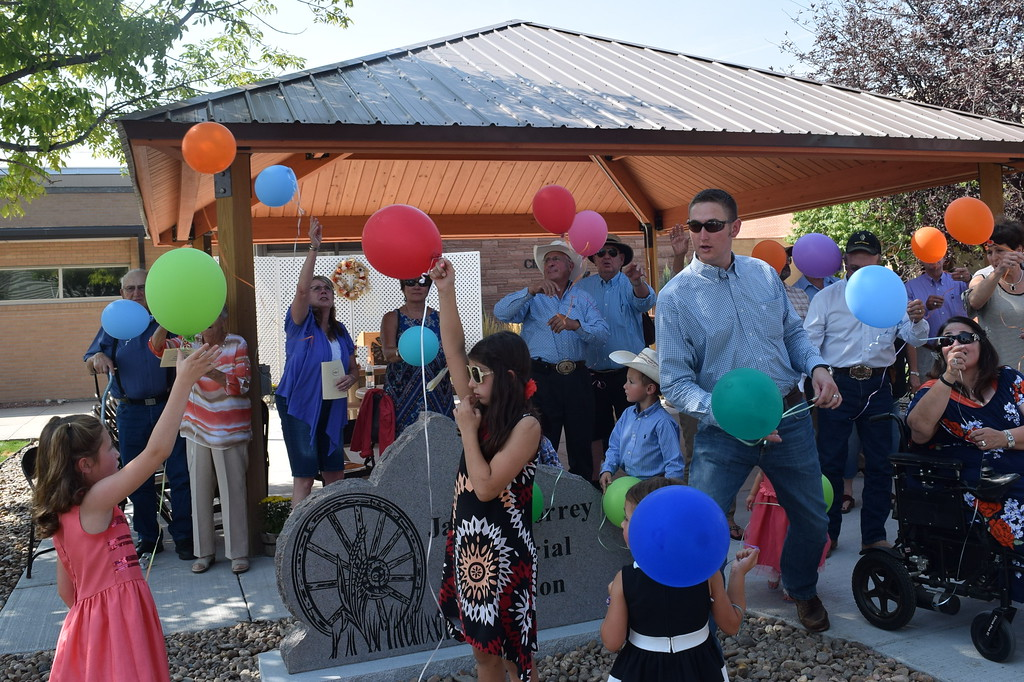 . Family members and friends release balloons in honor of Janna Korrey at the Janna Korrey Memorial Pavilion dedication ceremony Sunday, Sept. 10, 2017.