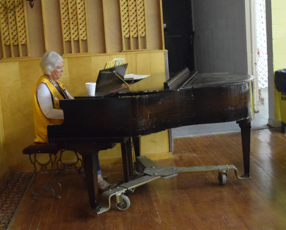 Lion Audrey Carey provided musical entertainment at the Sterling Lions Club's Cowboy Breakfast.