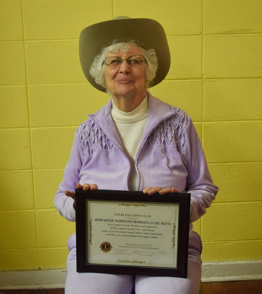 Jenevieve Sanders Manuello De Soto was one of the Sterling Lions Club's Pioneer Award recipients at the Cowboy Breakfast Wednesday, Aug. 4, 2017.