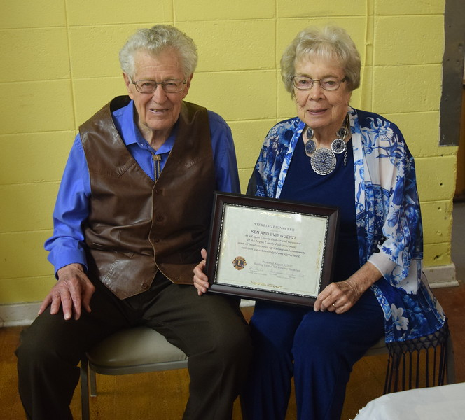 Ken and Evie Guenzi were recognized as a Pioneer Award recipient at Sterling Lions Club's Cowboy Breakfast Wednesday, Aug. 9, 2017.