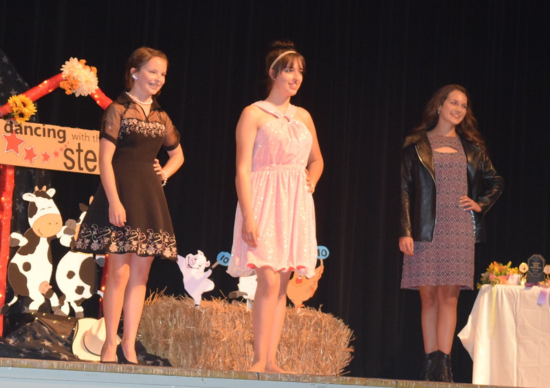 Participants in the senior division pose for a photo during the Logan County Fair 4-H Fashion Revue Friday, Aug. 4, 2017. From left; Aly Young, Shelby Houser and Rachael Northup.