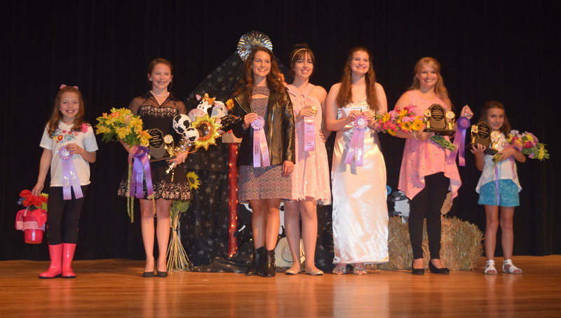 Award winners at the 2017 Logan County Fair 4-H Fashion Revue are pictured Friday, Aug. 4, 2017. From left; Ayla Baney, reserve champion junior division; Aly Young, champion senior division and encore division; Rachael Northup, reserve champion senior division; Shelby Houser, reserve champion encore division; Kathryn Lock, reserve champion intermediate division; Kayleigh Mackintosh, champion intermediate division; and Alexis Gentry, champion junior division.