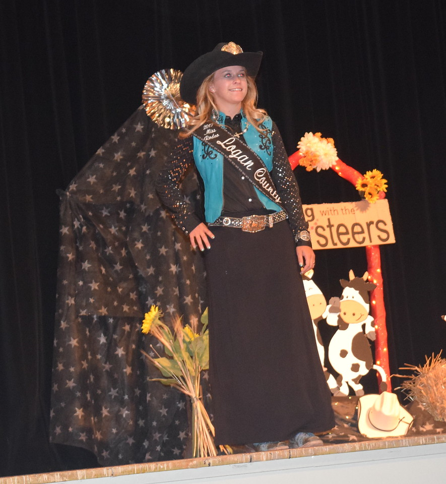 2017 Miss Rodeo Logan County McKaylin Schreiner models her outfit at the Logan County Fair 4-H Fashion Revue Friday, Aug. 4, 2017.